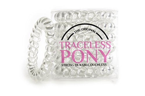 6 Pack Clear Traceless Hair Ring Ponytail Holder No Kink No Crease Ouchless Extra Durable & Strong Telephone Cord Style Spiral Hair Tie and Bracelet Ring 5cm Great Ponytails- By Original Tracelesspony