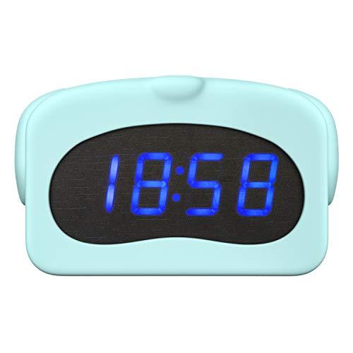 MoKo Digital Alarm Clock, Cute Animal Wake-up Alarm with Silicone Case, Sound Control LED Time Calendar Temperature Display Clock, USB Powered for Kids Home Dorm - Blue Dog