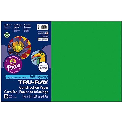 "Tru-Ray Heavyweight Construction Paper, Festive Green,  12"" x 18"", 50 Sheets"