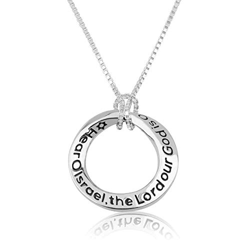 Marina Jewellery 925 Solid Sterling Silver Circle Pendant Necklace, Engraved with 'Hear O Israel, The Lord Our God is One' in Hebrew, ()