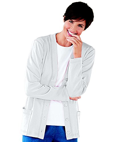 UltraSofts Button-Front Knit Cardigan, White, 1X