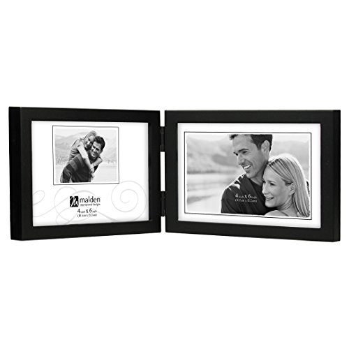 Malden International Designs Black Concept Wood Picture Frame, Double Horizontal, 2-4x6, Black