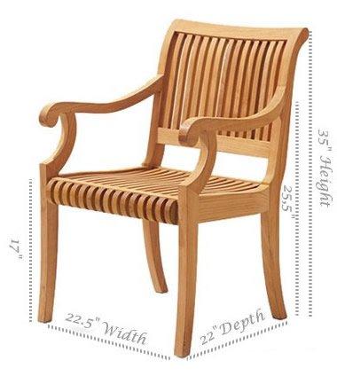 Grade-A Teak Wood Arm / Captain Dining Chair [Model: Giva] #WFDCARGV