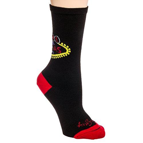"""Sockguy Las Vegas Sign 6"""" Cuff Performance Crew Sock (Black, Size L/XL)"""