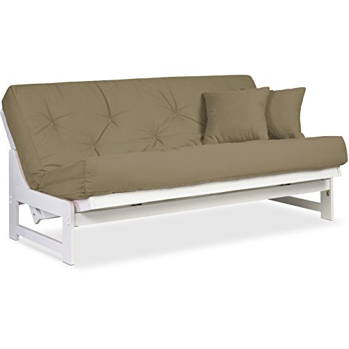 Best Review Of Nirvana Futons Arden Armless White Futon Frame Full or Queen Size - Solid Wood Sofa B...