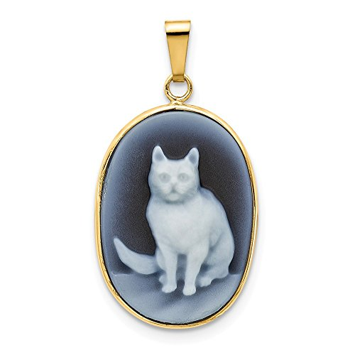 Jewelry Pendants & Charms Cameos 14k 13x18 Sitting Cat Agate Cameo Pendant