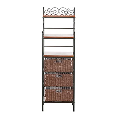 Southern Enterprises, Inc. SEI Manilla 3-Drawer Rattan Baker's Rack