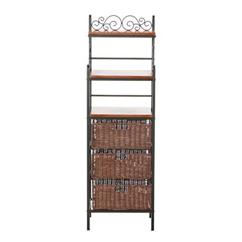 Manilla 3-Drawer Bakers Rack - Black w/ Brown