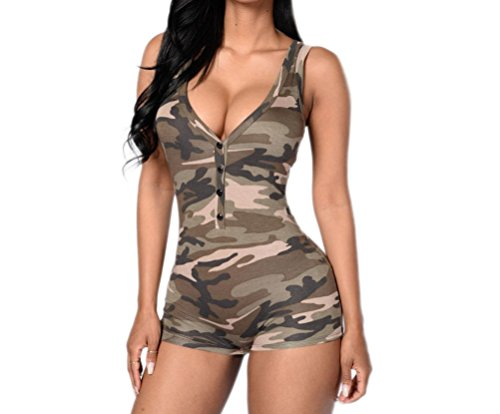Anermy Women Sexy Plunging V Neck Sleeveless Camouflage Slim Short Jumpsuit Romper XL (Sexy Camo Outfits)