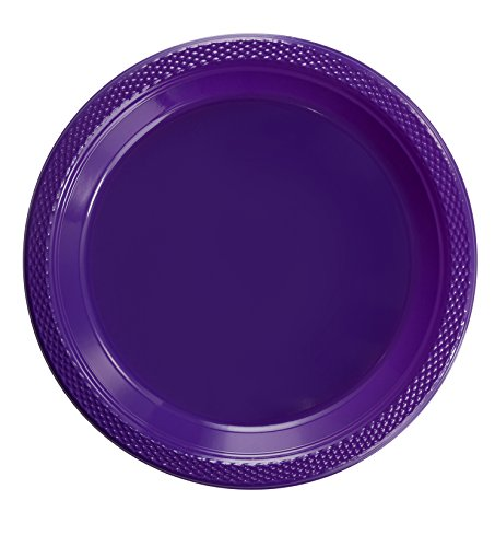 Exquisite 7 Inch. Purple Plastic Dessert/Salad Plates - Solid Color Disposable Plates - 100 Count ()
