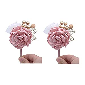 Florashop Satin Rose Wrist Corsage & Boutonniere Wedding Bridal Bridesmaid Wrist Corsage Wristband and Men's Groom Bridegroom Boutonniere for Wedding Prom Party Homecoming 82