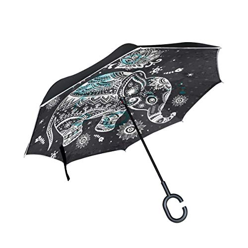 (Sawhoon Cute Art Elephant Reverse Umbrella for Car Travel Double-Layer Windproof Inverted Umbrella for Car Rain Outdoor Men Women with C-Shape Handle)