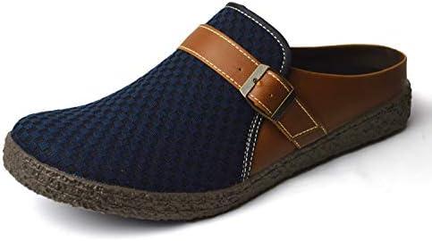 サボサンダル メンズ 編み込み チェック柄 サンダル クロッグサンダル メンズサンダル アウトドア カジュアル キャンバス 衝撃吸収 軽量 靴 Gray M(25cm-25.5cm相当)