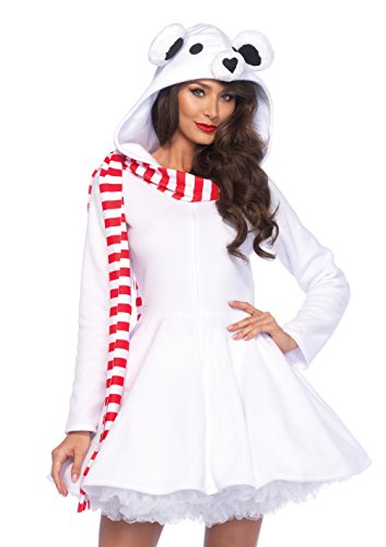 Adele Fancy Dress Costume (Leg Avenue Women's Cozy Polar Bear, White, Small)