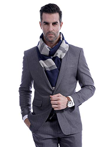 Men Cashmere Plaid Knitted Scarf Soft Warm Cashmere Feel Neckwear Men Business Fine Scarves Blue & Gray by Panegy (Image #3)