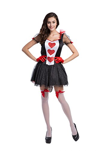 Honeystore Women's Heart Playing Card Queen Adult Halloween Costume Style 3 (Queen Of Hearts Card Adult Costume)