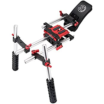 Socom Dual Grip Video Stabilization Shoulder Rig filmmaker kit w/ 15mm Rail System and Comfortable Soft Rubber Shoulder Pad for BMPCC, DSLR Sony Canon Nikon Cameras Video Camcorders