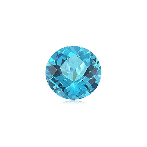 Mysticdrop 6.95 Cts of 12 mm Round Checker Board AA Loose Swiss Blue Topaz (1 pcs) Gemstone