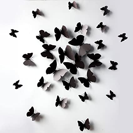 Black 24PCS 3D Butterfly Wall Stickers Decor Art Decorations 3 Size (24,  Black)