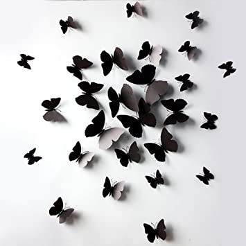 High Quality Black 24PCS 3D Butterfly Wall Stickers Decor Art Decorations 3 Size (24,  Black) Part 11