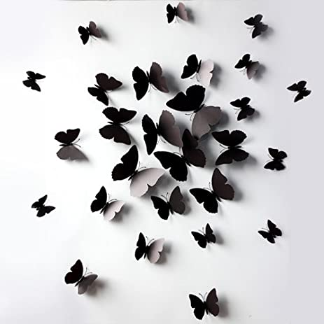Amazon.com: Black 24PCS 3D Butterfly Wall Stickers Decor Art ...