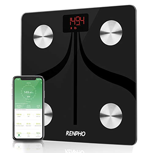 Bluetooth Smart Body Fat Scale by RENPHO, USB Rechargeable Digital Bathroom Weight Scale with iOS & Android App Wireless Body Fat Scale for Body Weight, Body Fat%, BMI, Water, Muscle Mass, 396 lbs
