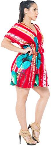 La Leela beachwear bikini de encubrir bordado traje de baño caftán rojo superior de las mujeres superiores