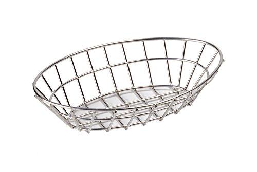 (G.E.T. Enterprises Stainless Steel Oval Metal Wire Basket Stainless Steel Wire Baskets Collection 4-82144 (Pack of)