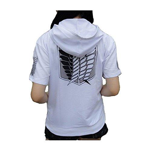 Attack on Titan Shingeki Kyojin Cosplay Hoodie Short Sleeves Sweater (XXL)]()