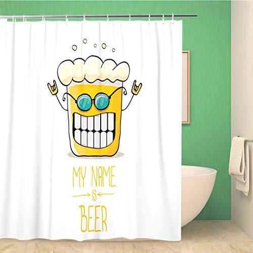 Awowee Bathroom Shower Curtain Cartoon Funky Beer Glass Character Sunglasses Comic Label My Polyester Fabric 72x78 inches Waterproof Bath Curtain Set with Hooks