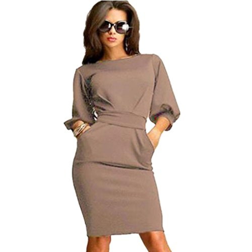 GONKOMA-Womens-Fashion-Working-Half-Sleeve-O-Neck-Casual-Office-Slim-Dress
