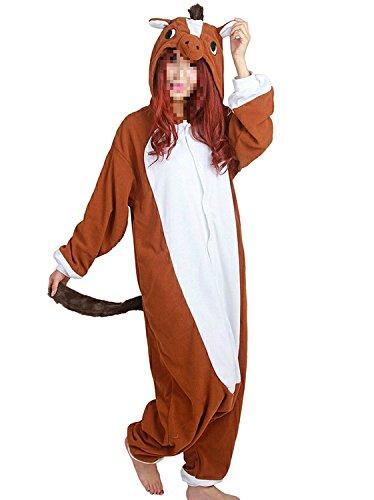 Tri-Better Brown Horse Onesie Animal Pajamas Hooded Kigurumi Unisex Cosplay Costumes