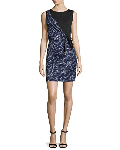 Silk Von Furstenberg Tie Diane (Diane von Furstenberg Dahlia Side-Tie Silk Dress (10, Batik Midnight/Black))