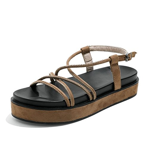 Mujer YMFIE para Sandalias de brown Planas Sandalias Informal Verano Confort Planas de BZXOB