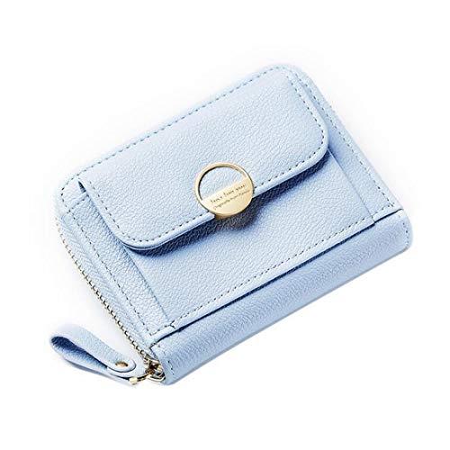 Blu Morbido Bifold Con Sky Pelle Borsetta Portafoglio Cerniera colore Blu Donna Mini In grow XAxq5wTO