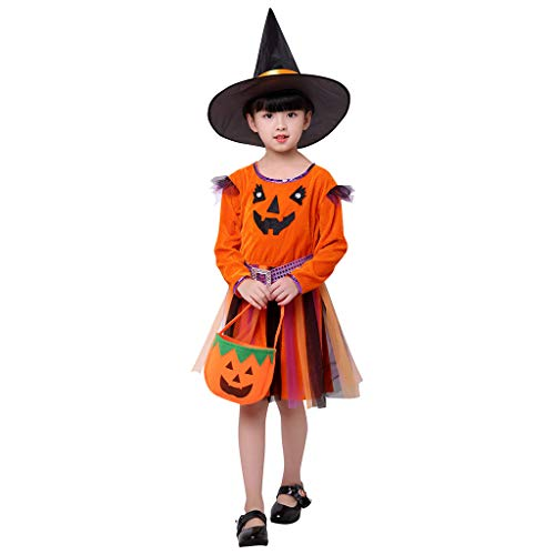 2-15Years Toddler Girl Halloween Outfit Pumpkin Princess Dress Tutu Skirt Outfits +Hat+Pumpkin Bag 3Pcs Set Orange