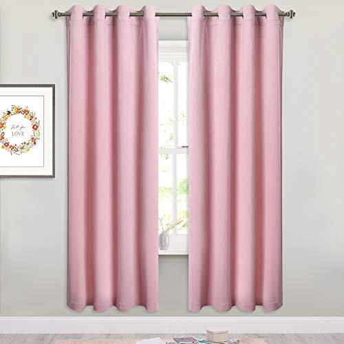 StangH Bedroom Velvet Curtains Drapes - Elegant Home Decor Pink Velvet Curtain Panels Light Blocking Sound Absorbing Window Covering for Girls' Room/Nursery, 52