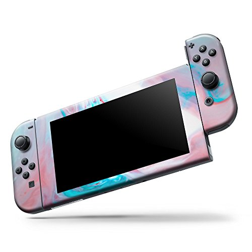 Marble Skin Set For Nintendo Switch Console & Joy-Con Controller (Skin Only) - Marbleized Teal and Pink V2