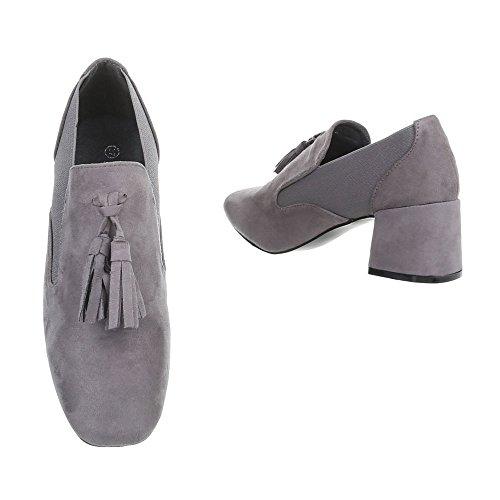 Schuhcity24 Damen Schuhe Stiefeletten Pumps mit DEKO Grau