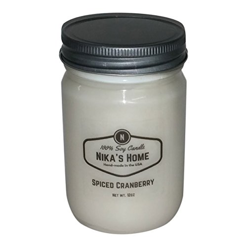 Nika's Home Spiced Cranberry Soy Candle - 12oz Mason Jar ()