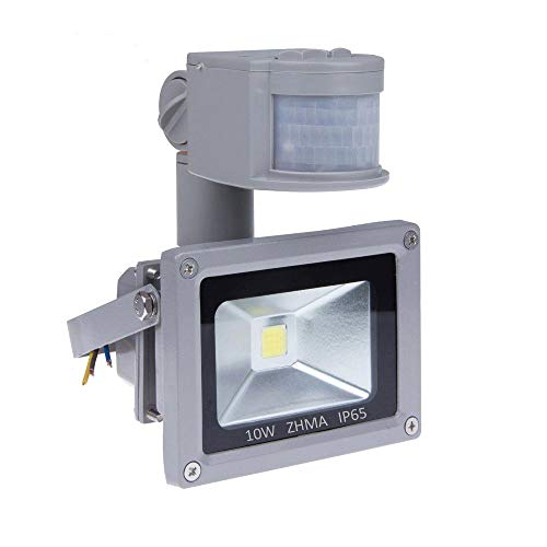 [New Design] ZHMA 12V 10W Motion Sensor Flood Light,Outdoor LED Flood Lights,Smart PIR Outdoor Security Floodlight,700lm, 100W Equivalent Bulb, Basement Light,6000K Daylight White