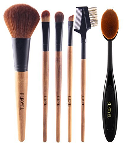 Makeup Brushes 6pc Confidence Perfection with Organic Bamboo Handle and Premium Quality Super Soft Bristle For Incredible Makeup Touch Up Comes With Mascara Brush Oval Brush