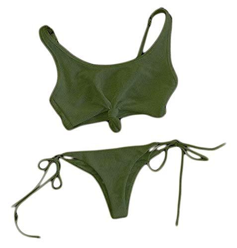 A Bikini Army Bagno Large Solido color Classico Size White Donna Annodato Strappy Green Costume Home Da Triangolo RrBZrXxq