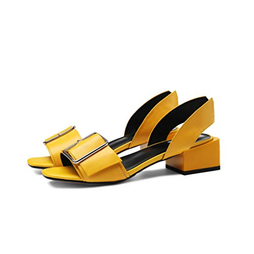 (Women's Classic Metal Buckle Slingback Sandals Slip On Casual Mid Chunky Block Heel Open Toe Sandal Yellow)