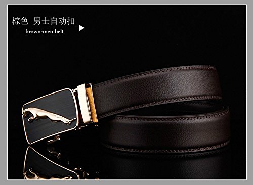 D/&L Brown Mens Genuine Leather Golden Jaguar Automatic Buckle Belt
