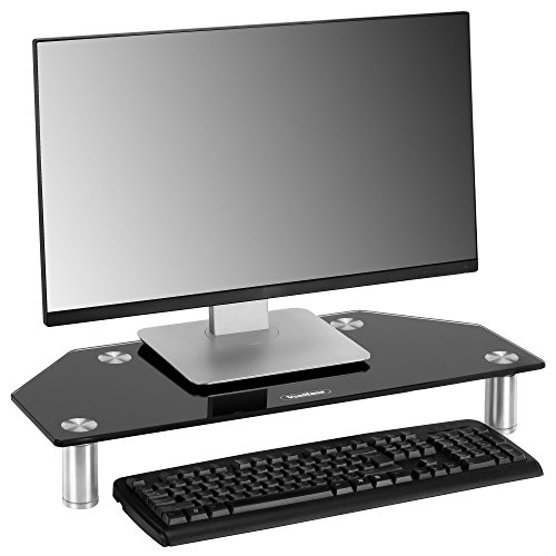 VonHaus Glass Corner Monitor Stand - Adjustable Height Screen Riser for PC Monitors, Computers, Laptops & TVs - 24 x 10 inches - Black
