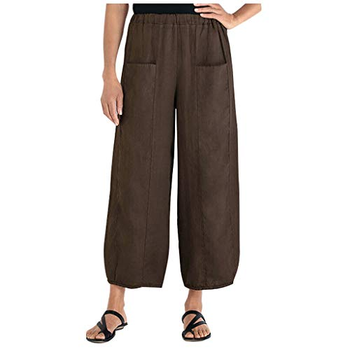Answerl Women's Elastic Waist Causal Loose Trousers Cropped Wide Leg Pants Straight Pants with Pocket Brown