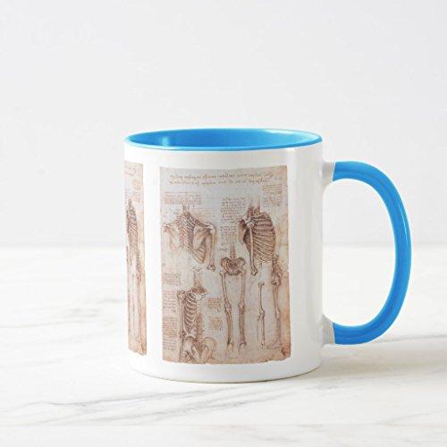 Zazzle Human Anatomy Skeletons By Leonardo Da Vinci Mug, Light Blue Combo Mug 11 oz - Da Vinci 11 Light