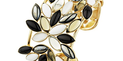 Philippe Ferrandis Bracelet manchette Colibri, dorure or fin, pâte de verre, noir-blanc, Ø60mm