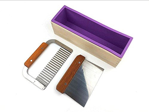 1 Purple Flexible Rectangular Silicone Soap Mold with Large Pine Wood Box for Homemade Produce 1.2 Kg Art Craft Soap Making Mold + 2 Pcs Cutter Peeler Slicer Knife Home Kitchen Tool Set (Box Purple Cutter)
